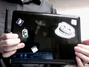 Laser Cut Jesus on a EEE PC