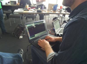 coding at hackathon